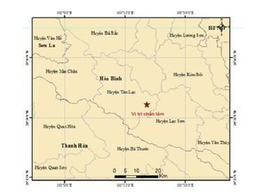 Động đất 2.8 độ richter ở Hòa Bình