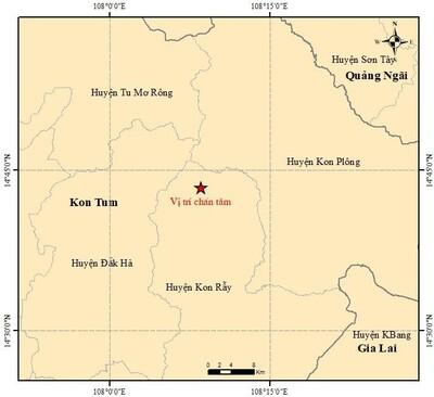 Năm trận động đất liên tiếp xảy ra ở Tây Nguyên