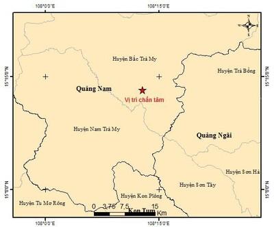 Quảng Nam: Lại xảy ra động đất tại huyện Bắc Trà My