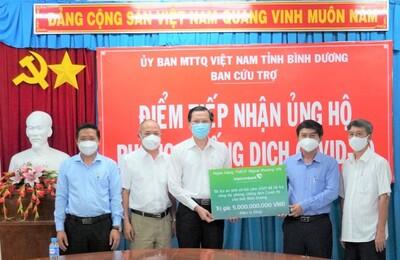 Vietcombank tài trợ 5 tỉ đồng hỗ trợ Bình Dương phòng, chống dịch Covid-19